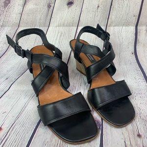 Paul Green Strap Leather Open Toe Heels 6.5